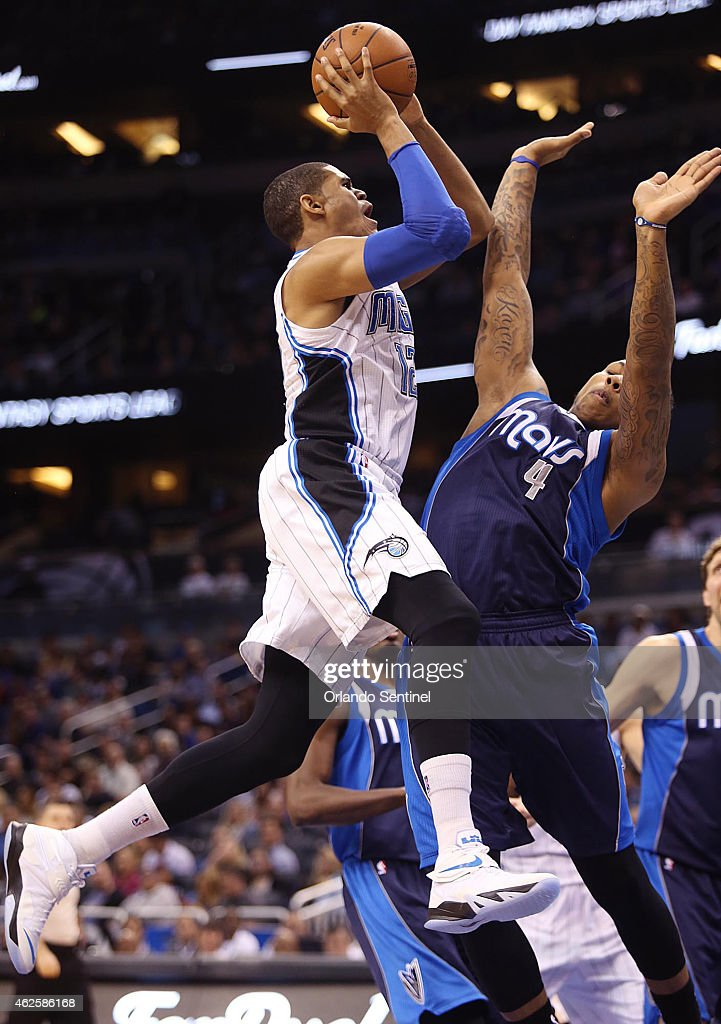 The Orlando Magic's <a gi-track='captionPersonalityLinkClicked' href=/galleries/search?phrase=Tobias+Harris&family=editorial&specificpeople=6902922 ng-click='$event.stopPropagation()'>Tobias Harris</a> (12) shoots against the Dallas Mavericks' <a gi-track='captionPersonalityLinkClicked' href=/galleries/search?phrase=Greg+Smith+-+Basketballer+-+Center&family=editorial&specificpeople=11490234 ng-click='$event.stopPropagation()'>Greg Smith</a> (4) at the Amway Center in Orlando, Fla., on Saturday, Jan. 31, 2015.