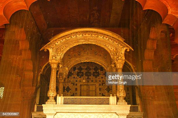 The ornate throne-balcony in Diwan-E-Aam, Red Fort
