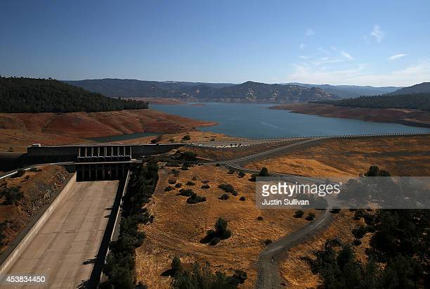 The Oroville Dam spillway stands dry at Lake Oroville on August 19 2014 in Oroville California As the severe drought in California continues for a...