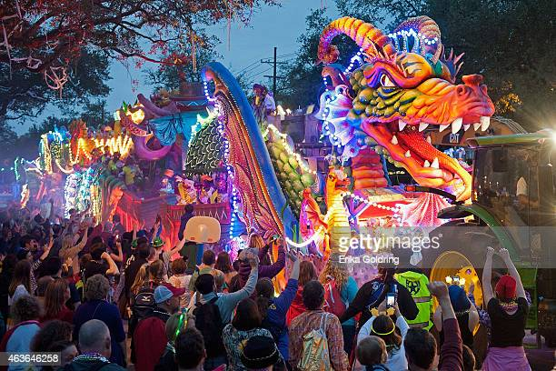 The Orpheus Leviathan dragon float with smoke and fiber optic lights rolls down Napolean Avenue in the 2015 Krewe of Orpheus Parade on February 16...