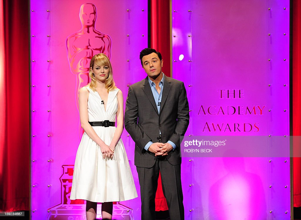 The Oscar nominees are announced by Seth MacFarlane and Emma Stone at the Samuel Goldwyn Theater on January 10, 2013 in Beverly Hills, California. Steven Spielberg is hoping for good news Thursday as Oscar nominees are unveiled, with his 'Lincoln' among frontrunners, albeit in a wide field as Hollywood's awards season enters the home straight. The 85th Academy Awards will be held on February 24. AFP PHOTO/ROBYN BECK