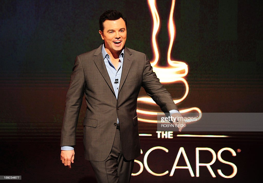 The Oscar nominees for Best Actor are announced by Seth MacFarlane at the Samuel Goldwyn Theater on January 10, 2013 in Beverly Hills, California. Steven Spielberg is hoping for good news Thursday as Oscar nominees are unveiled, with his 'Lincoln' among frontrunners, albeit in a wide field as Hollywood's awards season enters the home straight. The 85th Academy Awards will be held on February 24. AFP PHOTO/ROBYN BECK