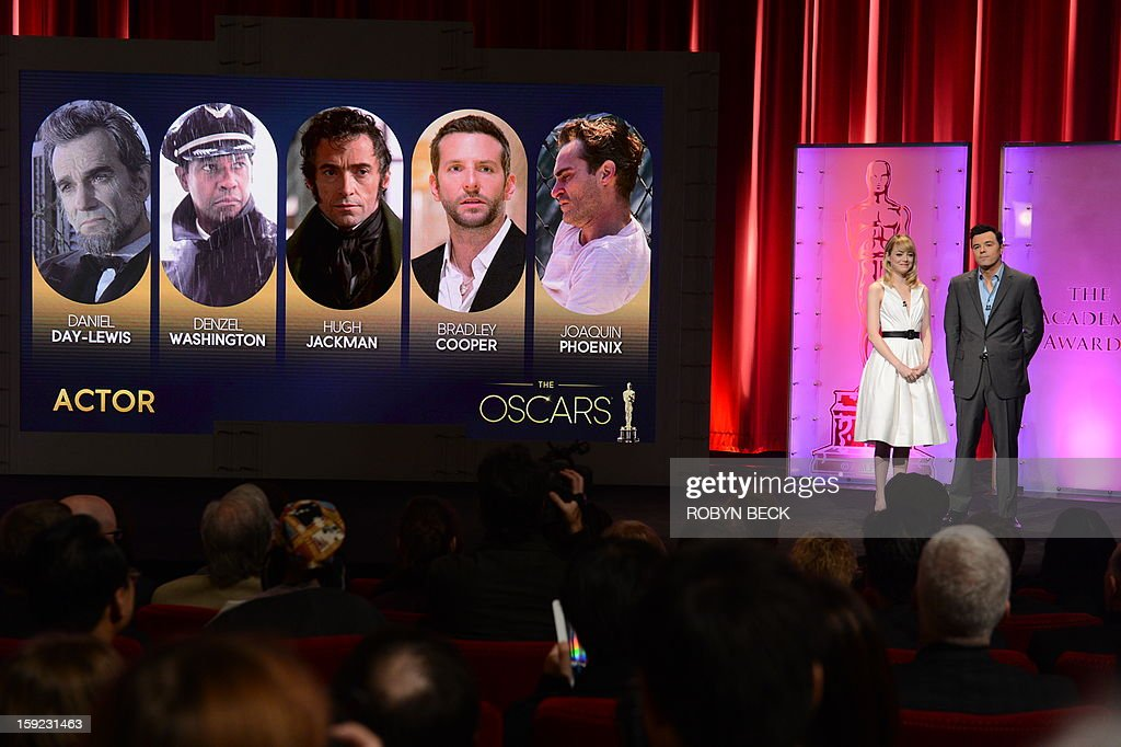 The Oscar nominees for Best Actor are announced by Seth MacFarlane and Emma Stone at the Samuel Goldwyn Theater on January 10, 2013 in Beverly Hills, California. Steven Spielberg is hoping for good news Thursday as Oscar nominees are unveiled, with his 'Lincoln' among frontrunners, albeit in a wide field as Hollywood's awards season enters the home straight. The nominations for the 2013 Academy Awards were held at at the Samuel Goldwyn Theater in Beverly Hills, in California for the famous golden statuettes, to be handed out on February 24.