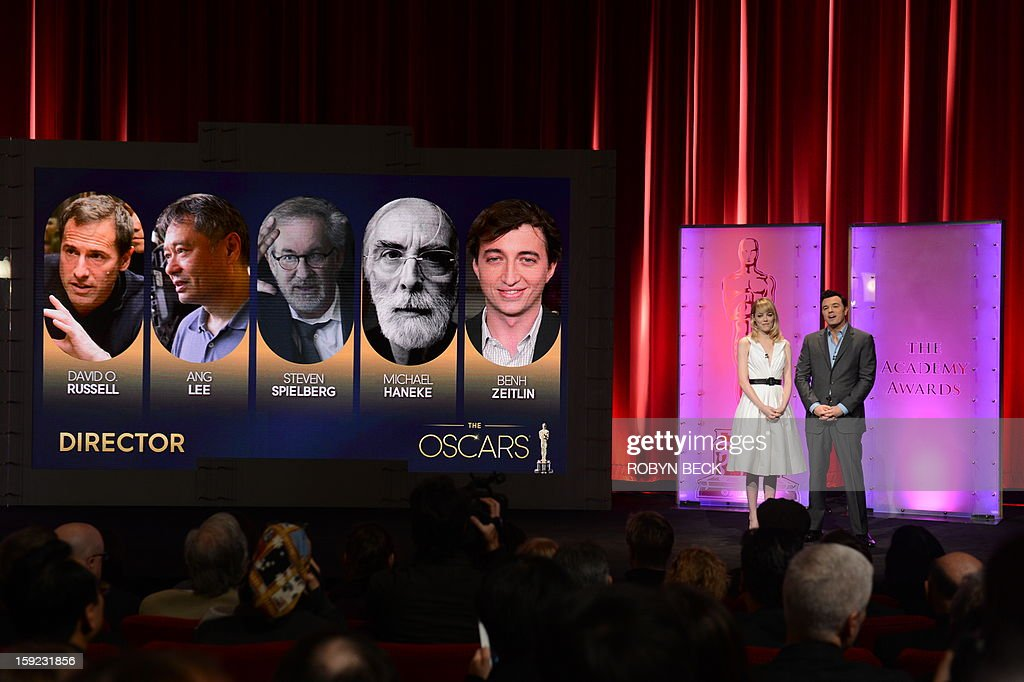 The Oscar nominees for Best Director are announced by Seth MacFarlane and Emma Stone at the Samuel Goldwyn Theater on January 10, 2013 in Beverly Hills, California. Steven Spielberg is hoping for good news Thursday as Oscar nominees are unveiled, with his 'Lincoln' among frontrunners, albeit in a wide field as Hollywood's awards season enters the home straight. The 85th Academy Awards will be held on February 24.