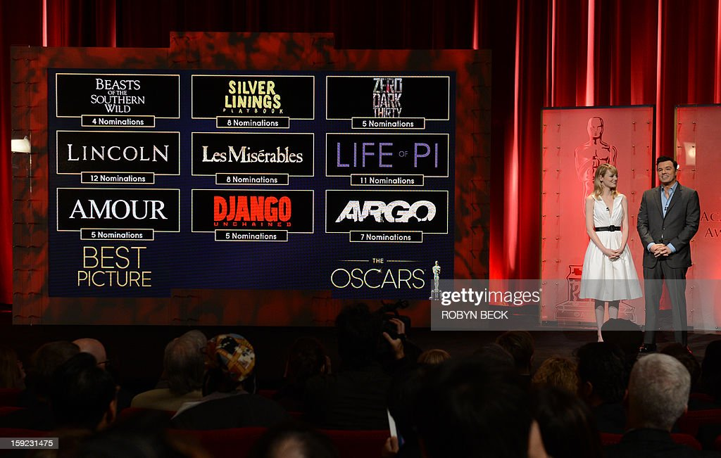 The Oscar nominees for Best Picture are announced by Seth MacFarlane and Emma Stone at the Samuel Goldwyn Theater on January 10, 2013 in Beverly Hills, California. Steven Spielberg is hoping for good news Thursday as Oscar nominees are unveiled, with his 'Lincoln' among frontrunners, albeit in a wide field as Hollywood's awards season enters the home straight. The nominations for the 2013 Academy Awards were held at at the Samuel Goldwyn Theater in Beverly Hills, in California for the famous golden statuettes, to be handed out on February 24.