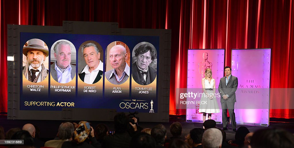 The Oscar nominees for Best Supporting Actor are announced by Seth MacFarlane and Emma Stone at the Samuel Goldwyn Theater on January 10, 2013 in Beverly Hills, California. Steven Spielberg is hoping for good news Thursday as Oscar nominees are unveiled, with his 'Lincoln' among frontrunners, albeit in a wide field as Hollywood's awards season enters the home straight. The 85th Academy Awards will be held on February 24. AFP PHOTO/ROBYN BECK