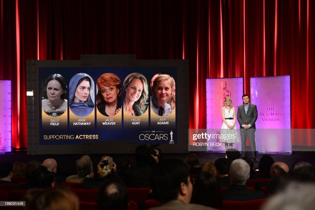 The Oscar nominees for Best Supporting Actress are announced by Seth MacFarlane and Emma Stone at the Samuel Goldwyn Theater on January 10, 2013 in Beverly Hills, California. Steven Spielberg is hoping for good news Thursday as Oscar nominees are unveiled, with his 'Lincoln' among frontrunners, albeit in a wide field as Hollywood's awards season enters the home straight. The nominations for the 2013 Academy Awards were held at at the Samuel Goldwyn Theater in Beverly Hills, in California for the famous golden statuettes, to be handed out on February 24. AFP PHOTO/ROBYN BECK