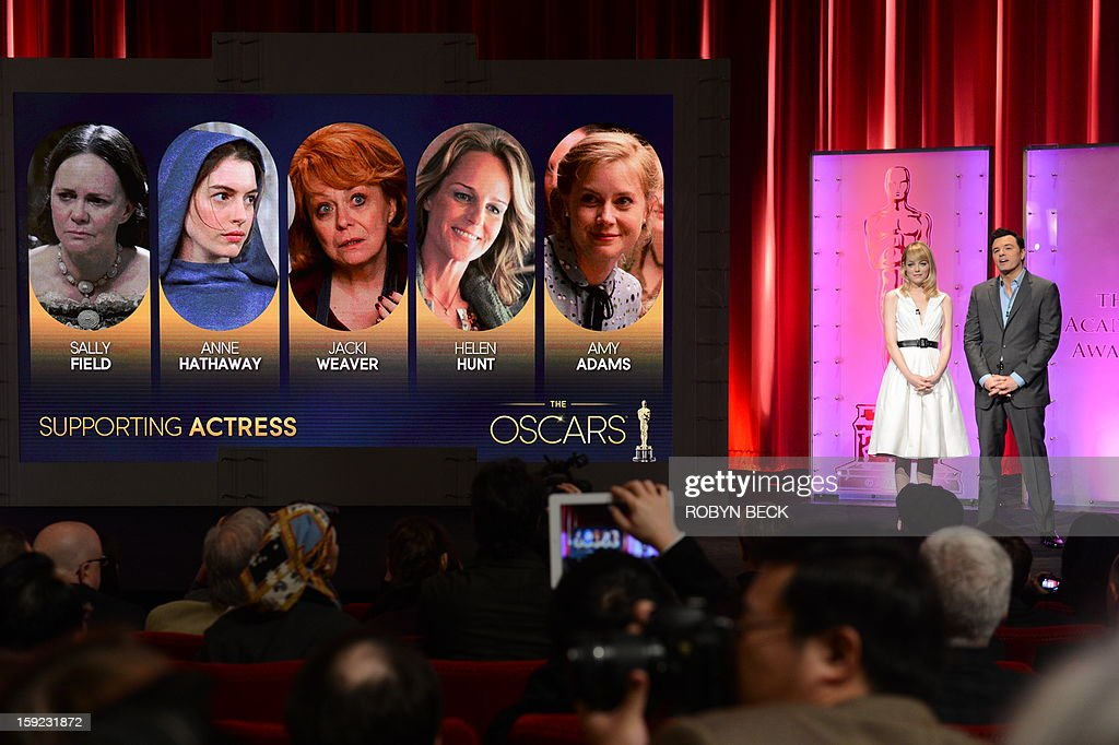 The Oscar nominees for Best Supporting Actress are announced by Seth MacFarlane and Emma Stone at the Samuel Goldwyn Theater on January 10, 2013 in Beverly Hills, California. Steven Spielberg is hoping for good news Thursday as Oscar nominees are unveiled, with his 'Lincoln' among frontrunners, albeit in a wide field as Hollywood's awards season enters the home straight. The 85th Academy Awards will be held on February 24. AFP PHOTO/ROBYN BECK