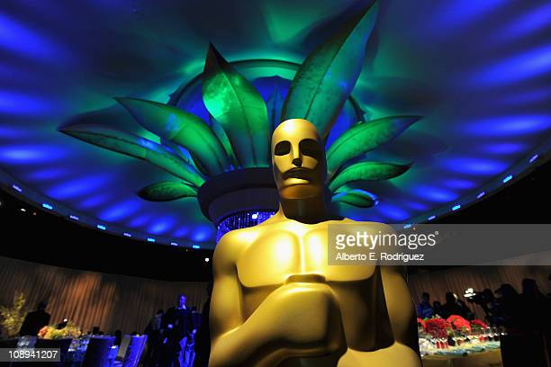 The Oscar statue in the Grand Ballroom at the 83rd Academy Awards Governors Ball preview on February 9 2011 in Beverly Hills California