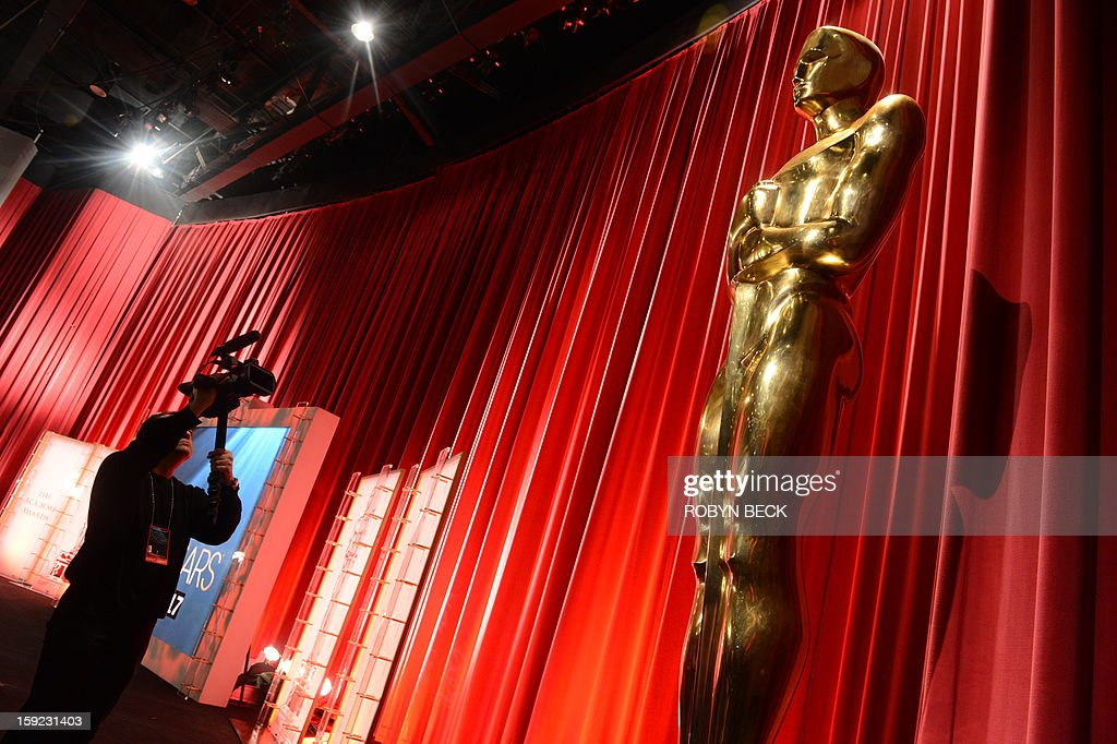 The Oscar statuette is viewed at the Samuel Goldwyn Theartre on January 11, 2013 in Beverly Hills, California. Steven Spielberg is hoping for good news Thursday as Oscar nominees are unveiled, with his 'Lincoln' among frontrunners, albeit in a wide field as Hollywood's awards season enters the home straight. The nominations for the 2013 Academy Awards were held at at the Samuel Goldwyn Theater in Beverly Hills, in California for the famous golden statuettes, to be handed out on February 24.