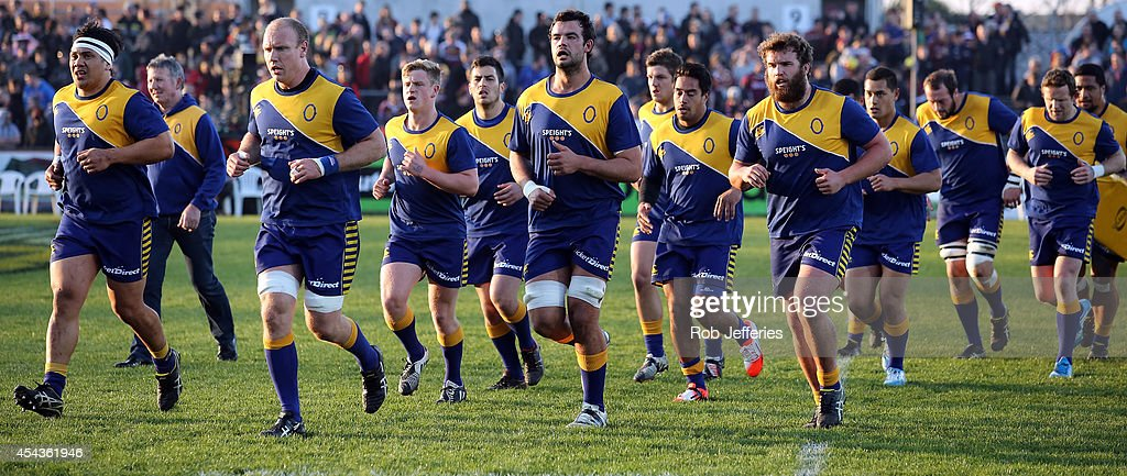 The Otago team head to the changing rooms during the ITM Cup match between Southland and Otago on August 30, 2014 in Invercargill, New Zealand.