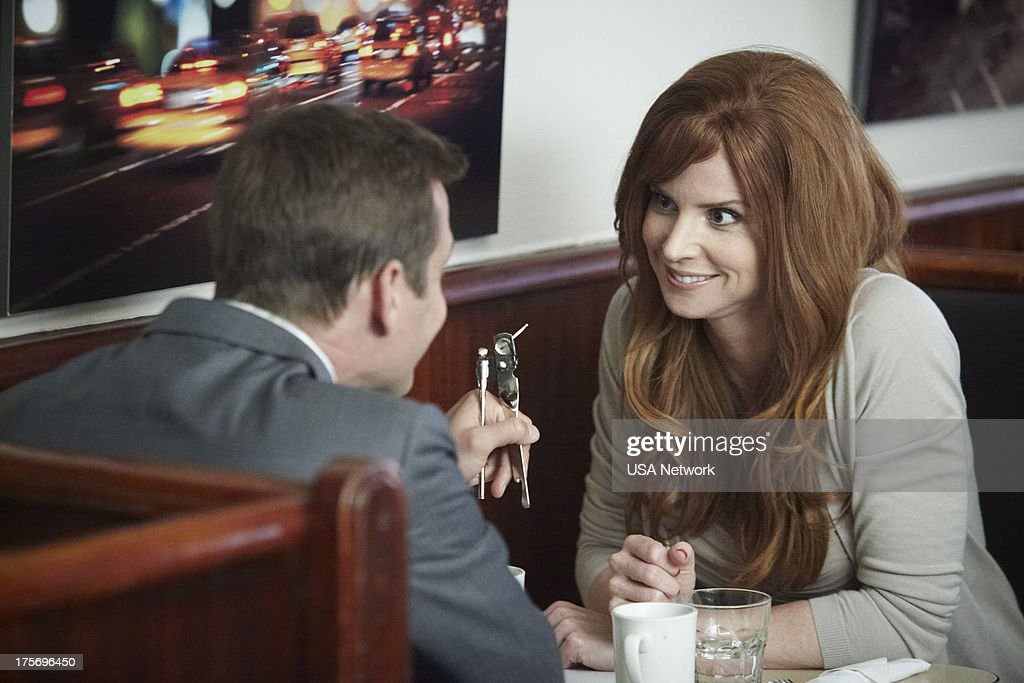 SUITS 'The Other Time' Episode 306 Pictured Gabriel Macht as Harvey Specter Sarah Rafferty as Donna Paulsen