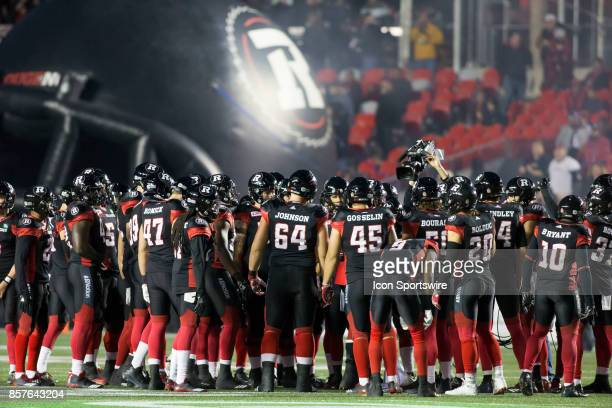 The Ottawa Redblacks get ready before their game against the Saskatchewan Roughriders The Saskatchewan Rough Riders defeated the Ottawa Redblacks...