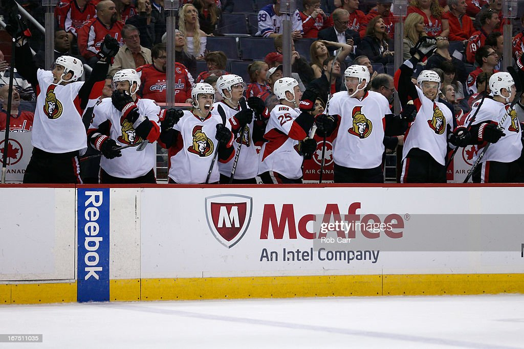 The Ottawa Senators bench celebrates after the Senators defeated the Washington Capitals 2-1 in overtime at Verizon Center on April 25, 2013 in Washington, DC.