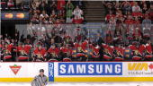 The Ottawa Senators bench celebrates after winning game five of the Eastern Conference Quarterfinals against the Tampa Bay Lightning during the 2006...