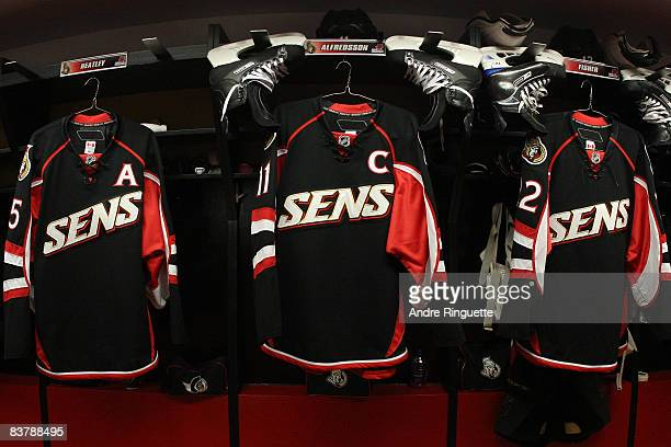 The Ottawa Senators' black third jersey hangs in the dressing room before being introduced in a game against the New York Rangers at Scotiabank Place...