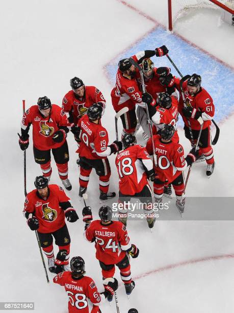 The Ottawa Senators celebrate a 21 victory over the Pittsburgh Penguins in Game Six of the Eastern Conference Final during the 2017 NHL Stanley Cup...