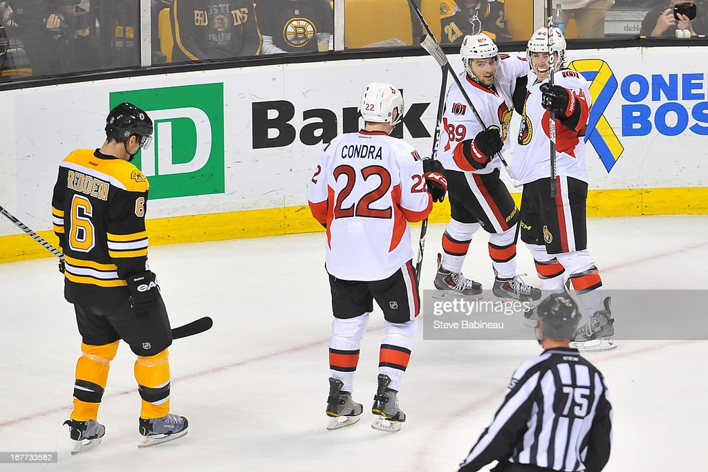 The Ottawa Senators celebrate a goal against the Boston Bruins at the TD Garden on April 28, 2013 in Boston, Massachusetts.