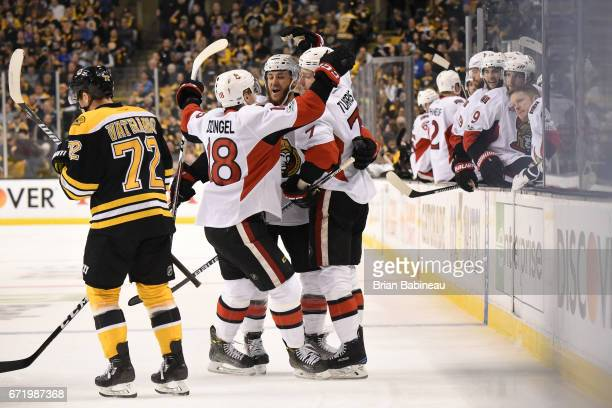 The Ottawa Senators celebrate a goal against the Boston Bruins in Game Six of the Eastern Conference First Round during the 2017 NHL Stanley Cup...