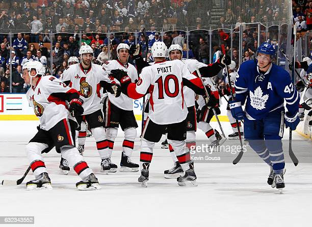 The Ottawa Senators celebrate their shootout win over the Toronto Maple Leafs on a goal by Tom Pyatt at the Air Canada Centre on January 21 2017 in...