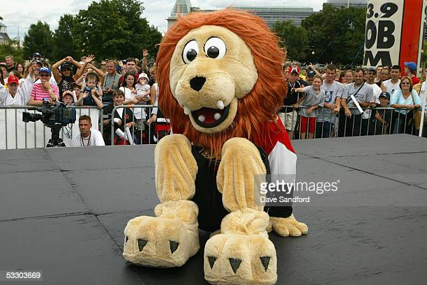 The Ottawa Senators mascot dances for fans during the Reebok hockey top prospects intorduction at Major's Hill Park July 29 2005 in Ottawa Canada
