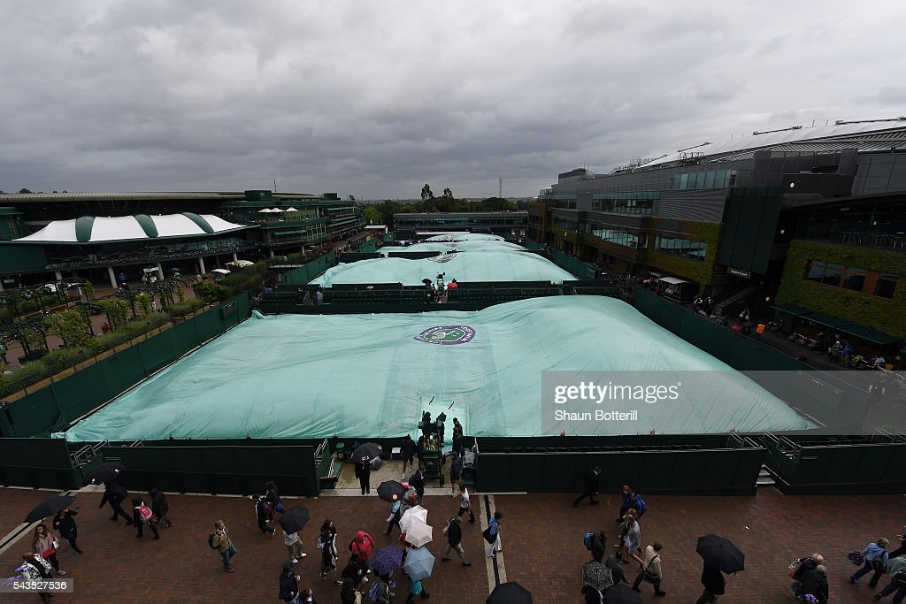 The outdoor courts are covered due to rain on day three of the Wimbledon Lawn Tennis Championships at the All England Lawn Tennis and Croquet Club on June 29, 2016 in London, England.