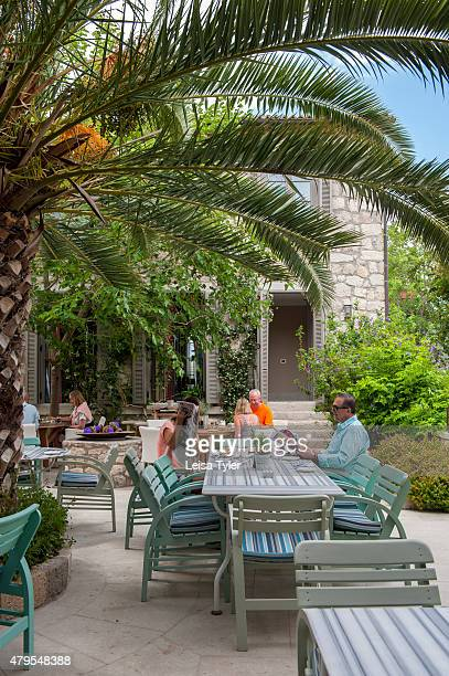 The outdoor restaurant at Alavya a boutique hotel made from six restored village houses in the Agean coast town of Alacati