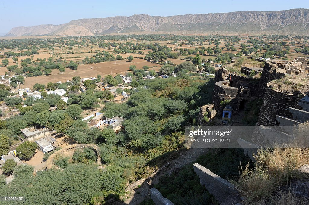 The outer walls of the Thanagazi fort are pictured above the city of Alwar on November 13 2011 One of India's prime tourist attractions the princely...