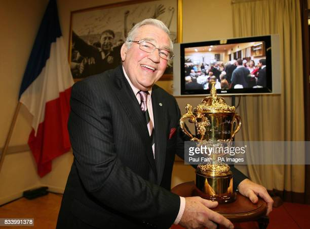 The outgoing President of the International Rugby Board Syd Millar with the Web Ellis trophy at Ballymena Rugby club in Ballymena