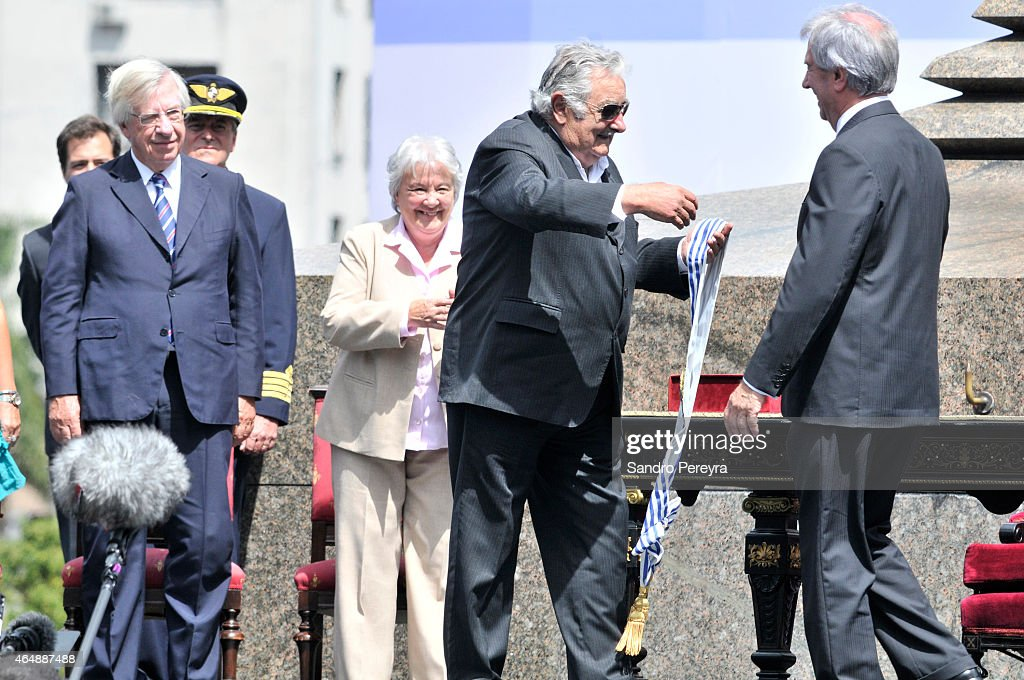 The outgoing President of Uruguay, José Mujica makes the change of command with his successor, Tabaré Vázquez in the independence square of Montevideo, Uruguay today Sunday first of March 2015 on March 01, 2015 in Montevideo, Uruguay.