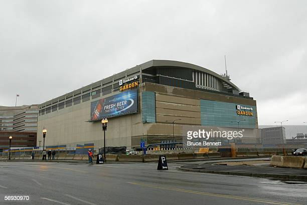The outside of TD Banknorth Garden is shown before the Boston Bruins game against the Carolina Panthers on February 5 2006 in Boston Massachusetts...