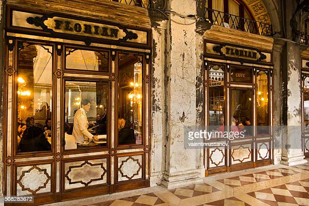The outside of cafe Florian in Venice at night