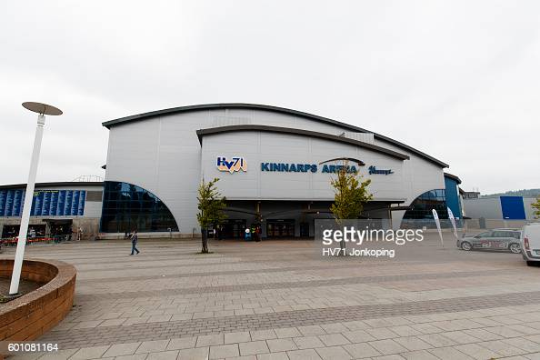 The outside of the venue Kinnarps arena before the Champions Hockey League match between HV71 Jonkoping and Red Bull Salzburg at Kinnarps Arena on...