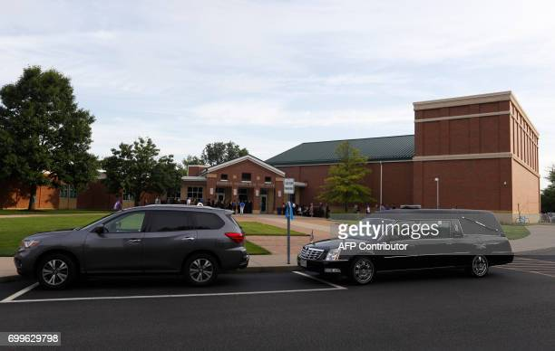 The outside of Wyoming High school is seen in Wyoming Ohio on June 22 before the funeral of Otto Warmbier Warmbier an American university student who...