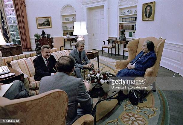 Jimmy Carter with Israeli former Prime Minister Golda Meir 1977 To president Carter's left is Zbigniew Brzezinski United States National Security...