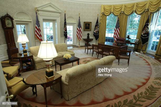 The Oval Office of the White House is seen after renovations including new wallpaper August 22 2017 in Washington DC The White House has undergone a...