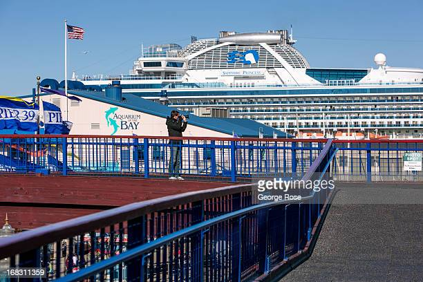 The oversized luxury cruise ship Sapphire Princess is docked at Pier 35 for an overnight stop on April 15 in San Francisco California Some 136...
