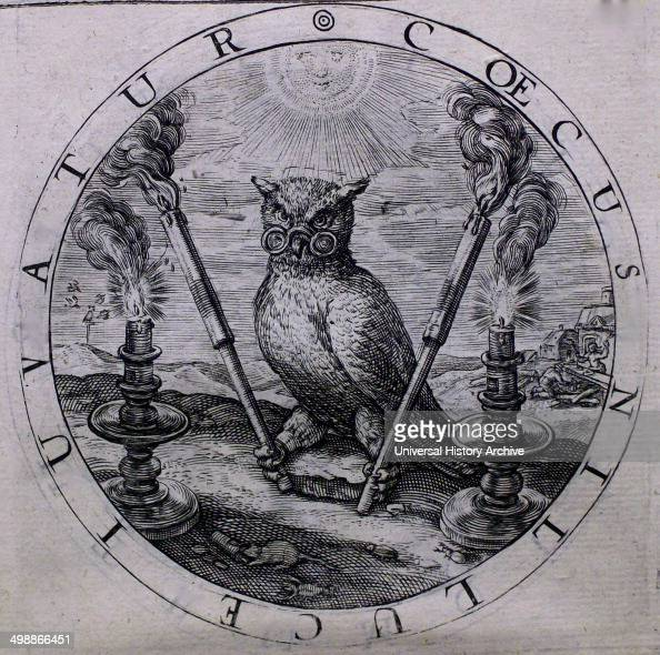 The owl as a symbol of blind opinion an etching in George Wither's 'A Collection of Emblemes Ancient and Moderne'
