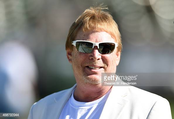 The owner of the Oakland Raiders Mark Davis looks on during warm ups prior to his team playing the Denver Broncos at Oco Coliseum on November 9 2014...