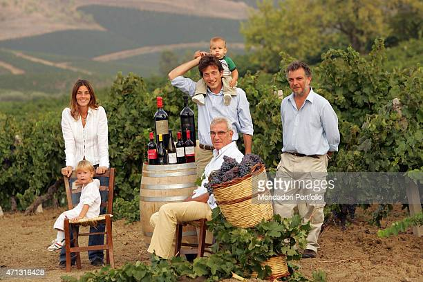 The owner of the wine house Tasca d'Almerita Lucio Tasca d'Almerita posing with his son and vicepresident of the winery Giuseppe Tasca d'Almerita his...