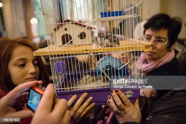 The owners of a pet hamster hold its cage aloft for others to take photographs during a traditional mass for the blessing of animals at the...