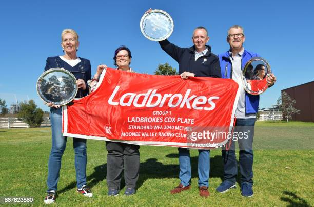 The owners of Champion mare Winx Patricia TigheDebbie Kepitis Peter Tighe and Paul Kepitis pose with the three Cox plates and winning horse rug at...