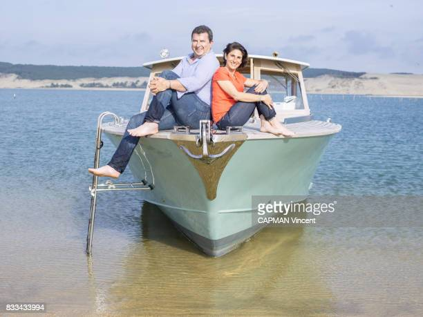 the owners of the Hotel Pascal Bataille with his wife Adra on july 08 2017 in Cap Ferret France