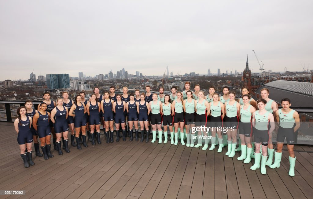 The Oxford and Cambridge men's and women's crew pose prior to the crew announcement for the 2017 Cancer Research UK University Boat Races at Google's London headquarters on March 14, 2017 in London, England.