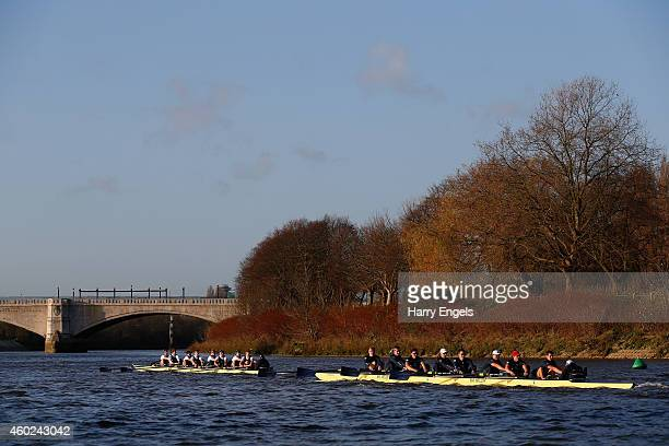 The Oxford boat 'Per Terram' beats 'Per Mare' to the finish during the Oxford University Boat Club trial eights race on the River Thames on December...