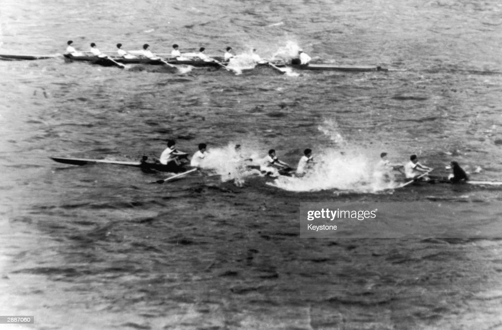 The Oxford boat sinks after only half a mile, during the annual University boat race against Cambridge, 24th March 1951.