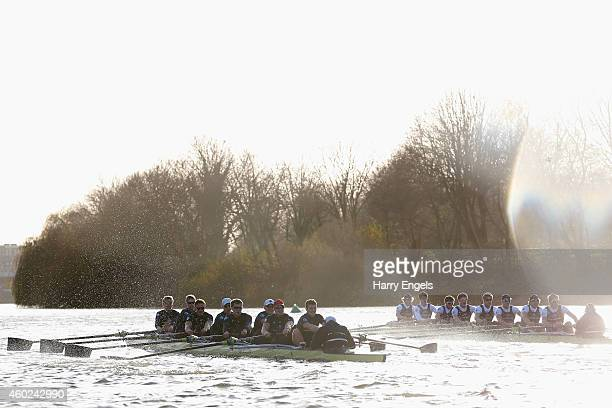 The Oxford boats 'Per Mare' and 'Per Terram' race during the Oxford University Boat Club trial eights race on the River Thames on December 10 2014 in...