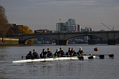 The Oxford crew 'Fantasy' row up to the start line ahead of the Oxford University Women's Boat Club trial eights race on the River Thames on December...