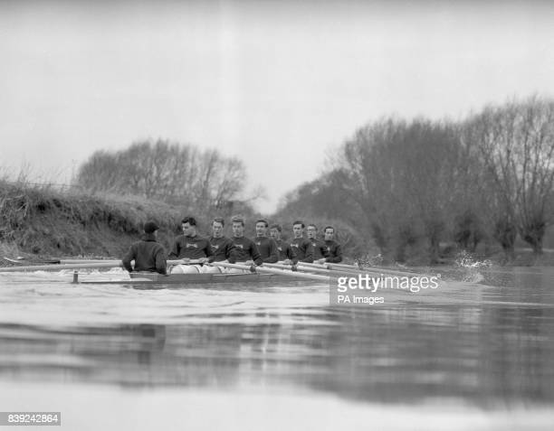 The Oxford crew training on the Thames at Wallingford left to right CM Strong cox CM Davis stroke PCD Burnell Tobias William Tennant JCD Sherratt RA...