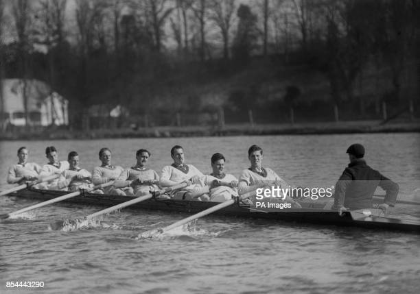 The Oxford rowing crew in practice at Henley P Mallam F B Lethrop S I Coates D T Raikes W E C James R S C Lucas G O Nickalls S Earls and W H Porritt